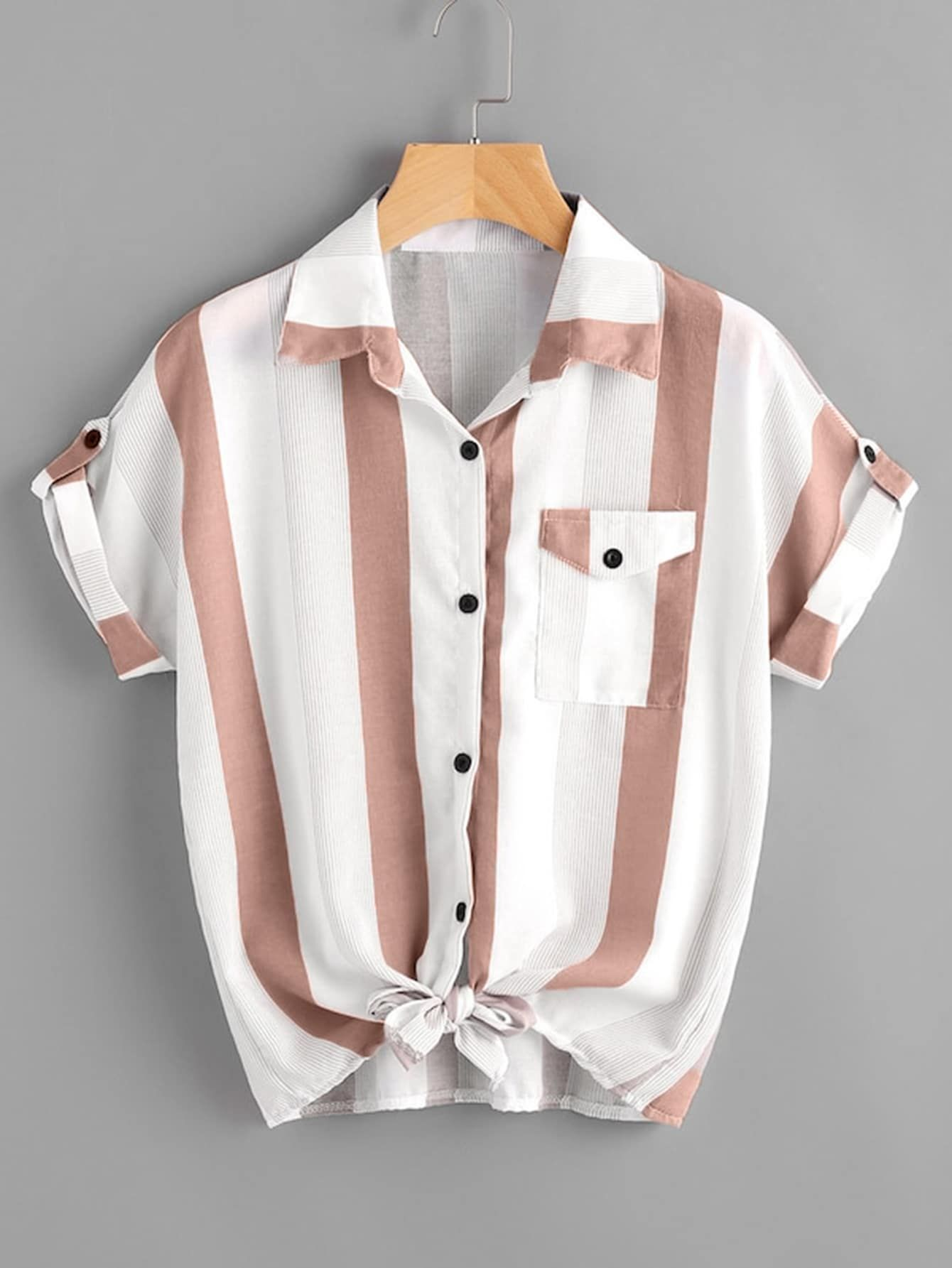 Striped Roll Tab Sleeve Knot Hem Shirt Trendy Outfits How To Roll Sleeves Hem Shirt Tops Women Blouses