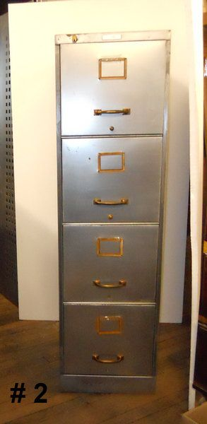 Steampunk Filing Cabinet 4 Drawer Stripped Unfinished Metal Office Furniture Storage
