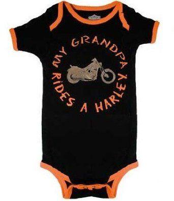Amazon Com Harley Davidson Bodysuit My Grandpa Rides A Harley Infant Onesie Clothing Harley Davidson Baby Baby Boy Romper Biker Baby