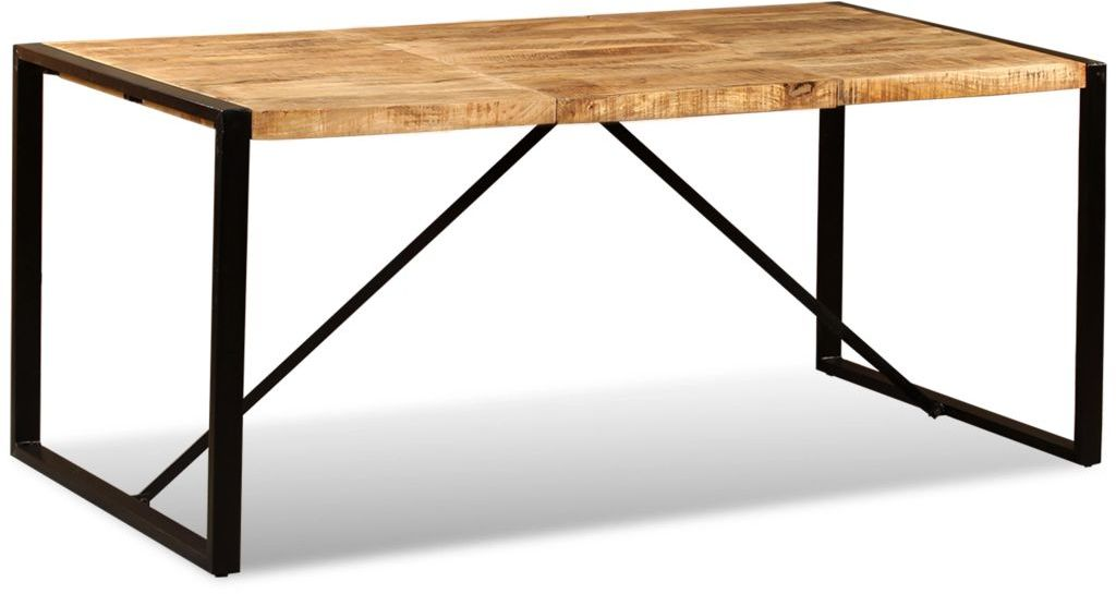 H4home Industrial Style Large Dining Table Rough Mango Wood Metal