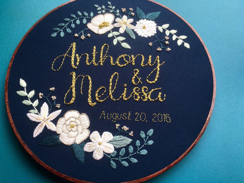 Custom personalized embroidery hoop art wedding