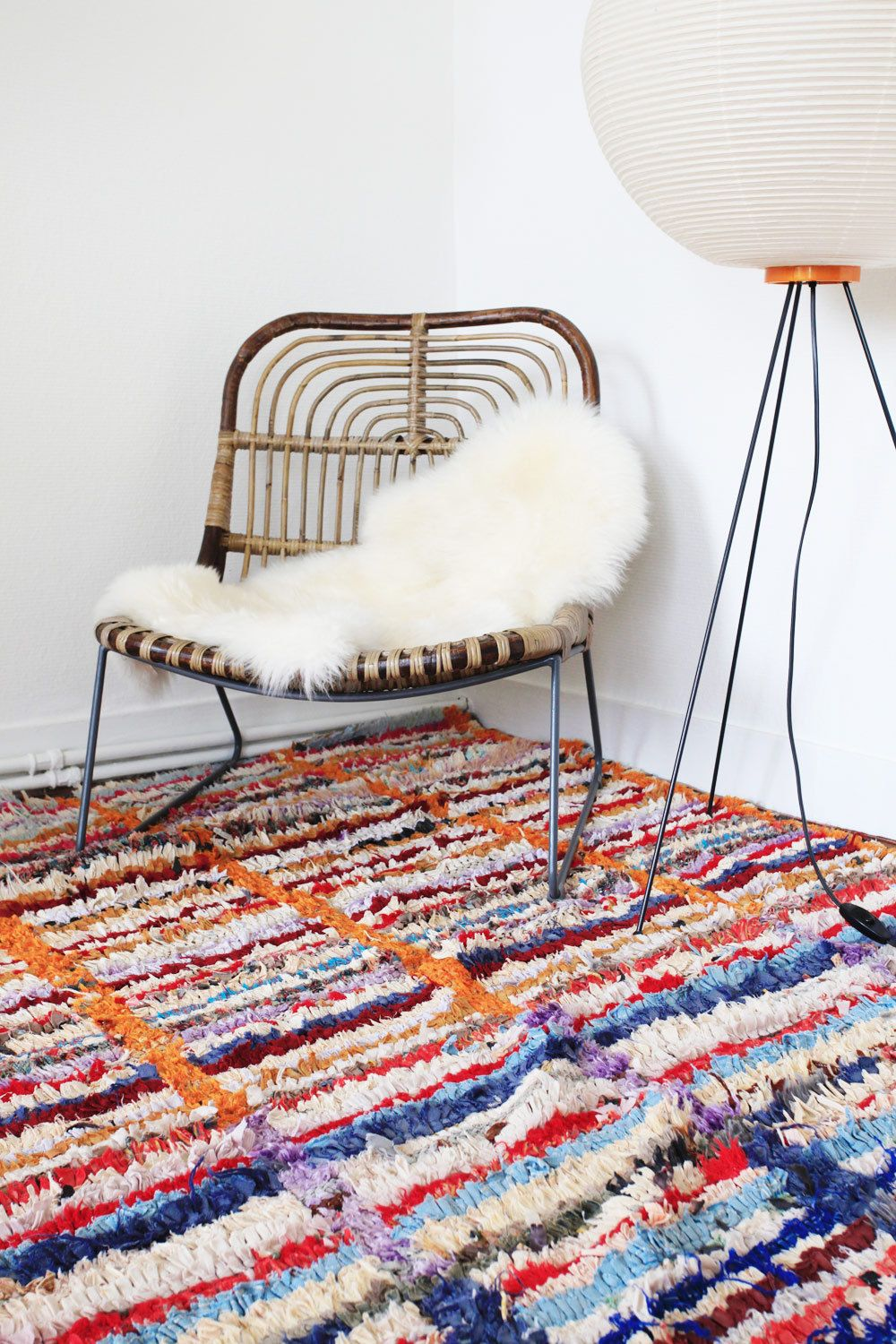 boucherouite vintage rug azilal berber colorful geometric stripes boho ethnic soft. Black Bedroom Furniture Sets. Home Design Ideas