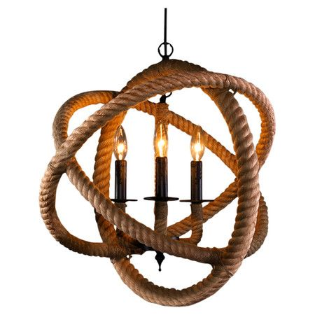 Showcasing a unique rope design and 3 lights, this eye-catching pendant casts a warm glow in your entryway or den.  Product: Pen...