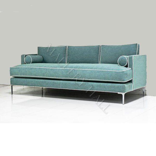 Retro Blue Sofa With Piping Modern Blue Sofa Blue Sofa Green Sofa