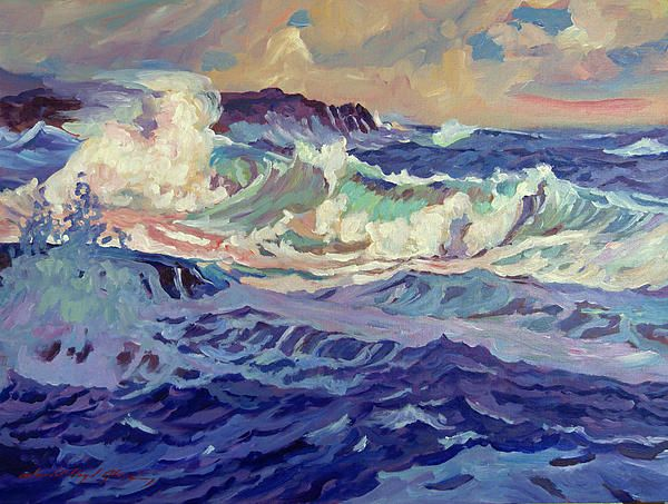 An impressionist painting of the California coast.
