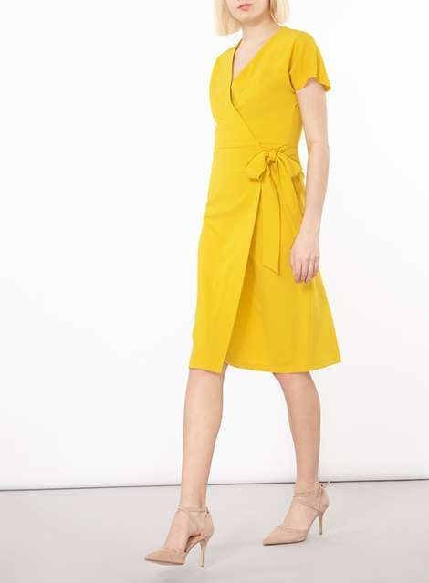 Trending Yellow Wrap Dress #TrendingNow #Yellowdress #springstyle