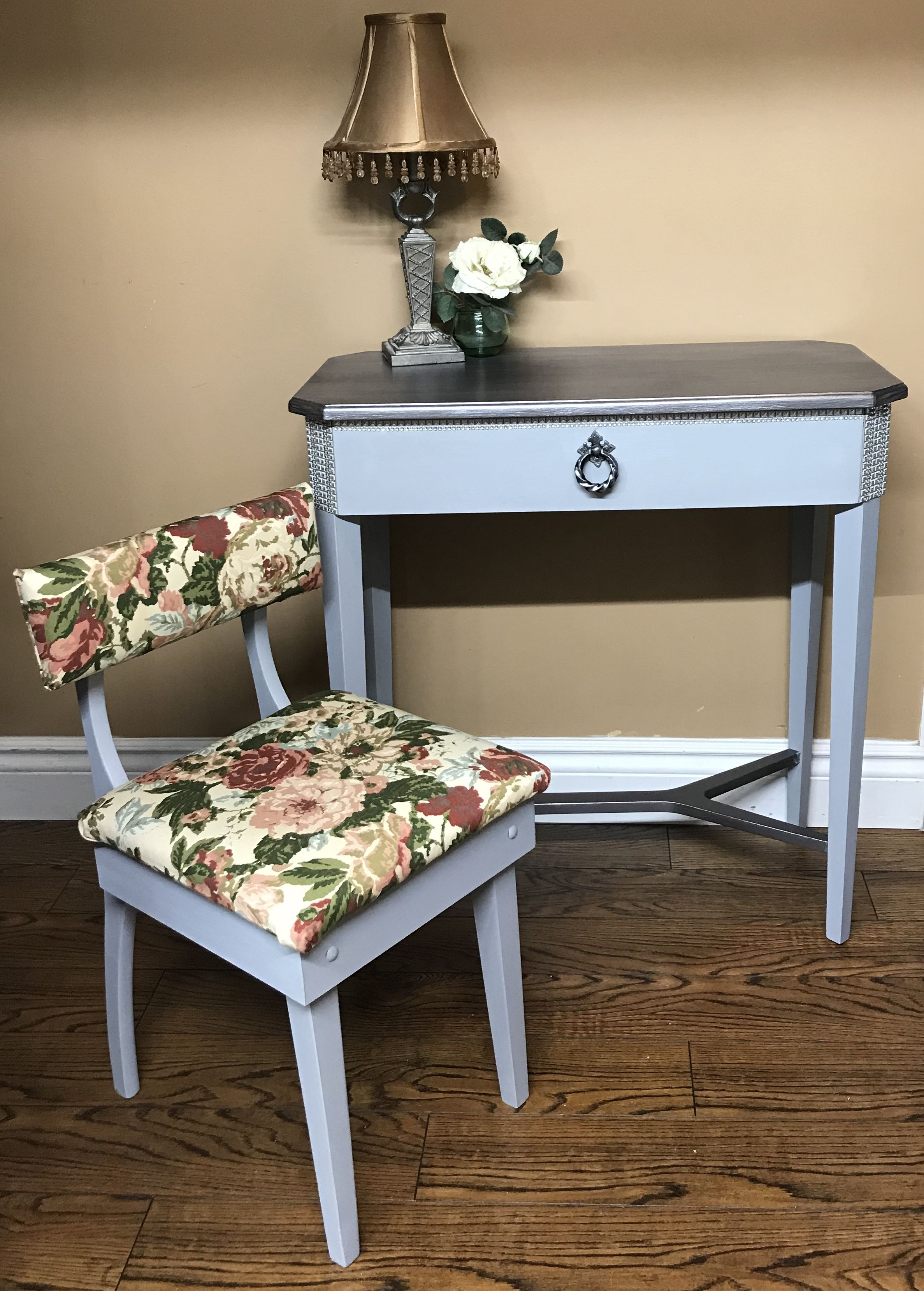 Bombay Company Side Table Makeover With Vintage Sewing Chair