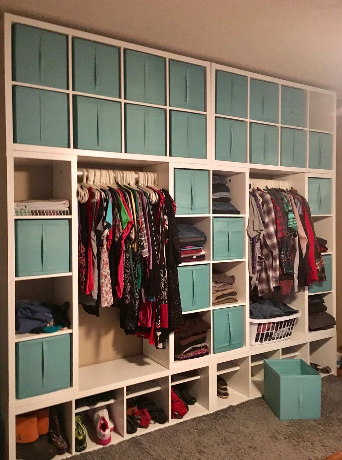 Kallax wardrobe wall hulderheimen pinterest for Ikea expedit closet