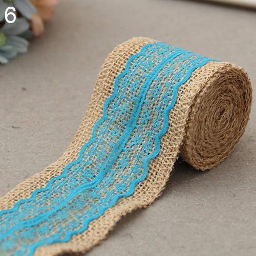 Photo of 2M 6cm Jute Burlap Hessian Ribbon Lace Trims Rustic DIY Wedding Party Decoration – Navy