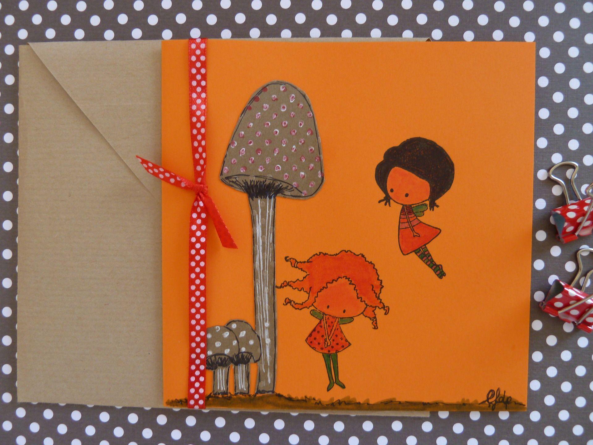 """carte illustration """"fées et champignons"""" by lfdp - pièce unique : Cartes par faire-parts-absolument-bylfdp"""