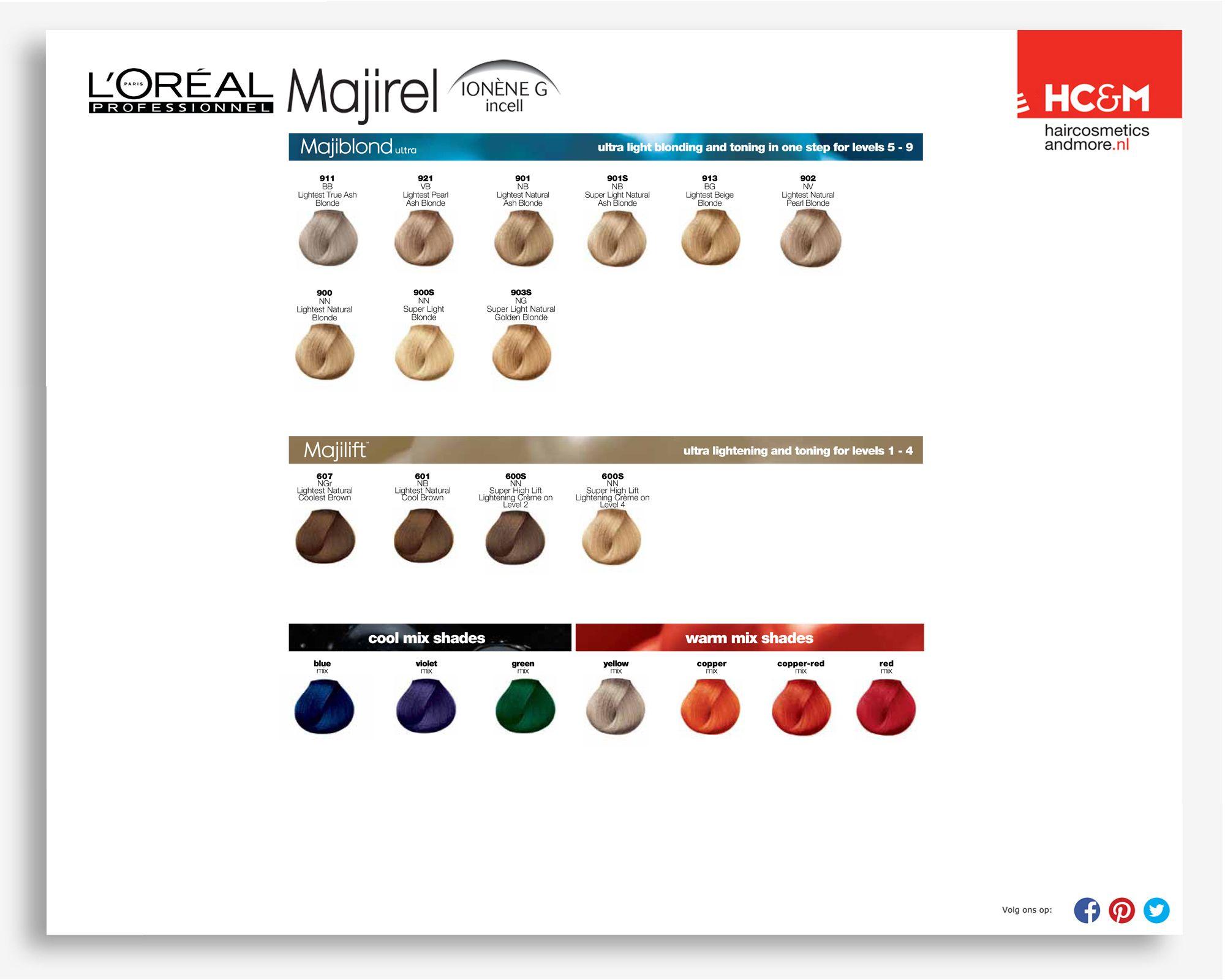 Majirel colour chart - L Or Al Professionel Majirel Majiblond Majilift Cool Mix Shades Warm Mix Shades Color Chartsbleach