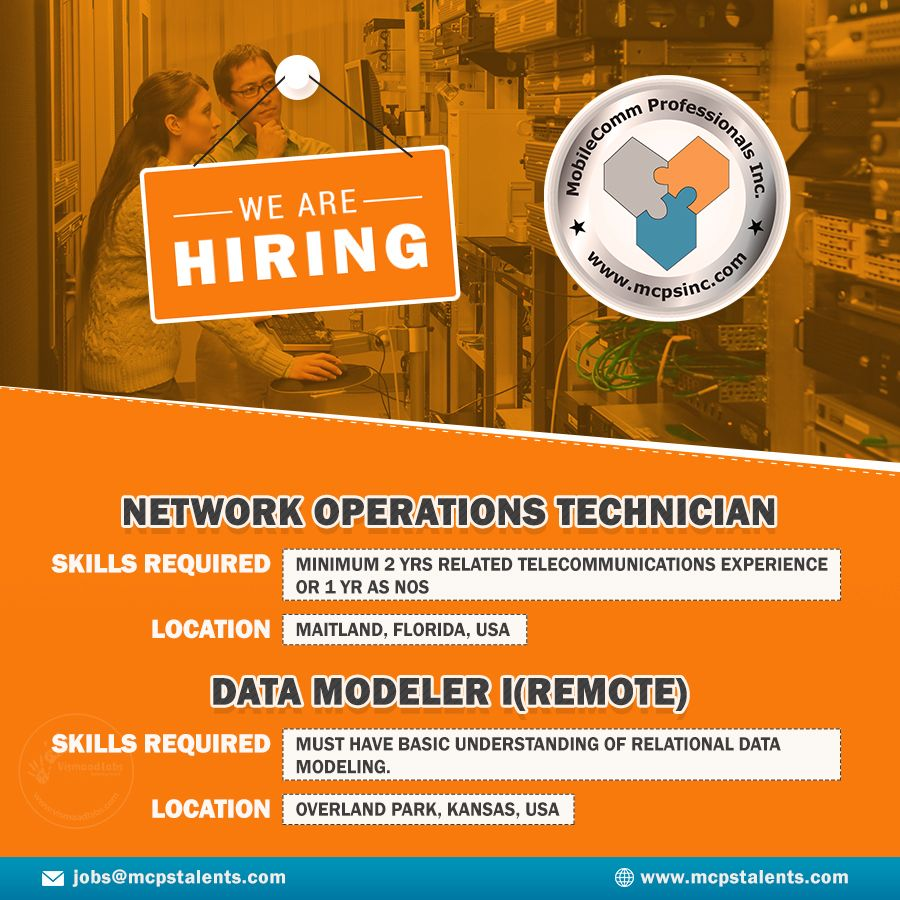 Jobs for Network Operations Technician and Data Modeler I
