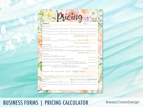 New Pricing Calculator Worksheet, Product Cost Breakdown