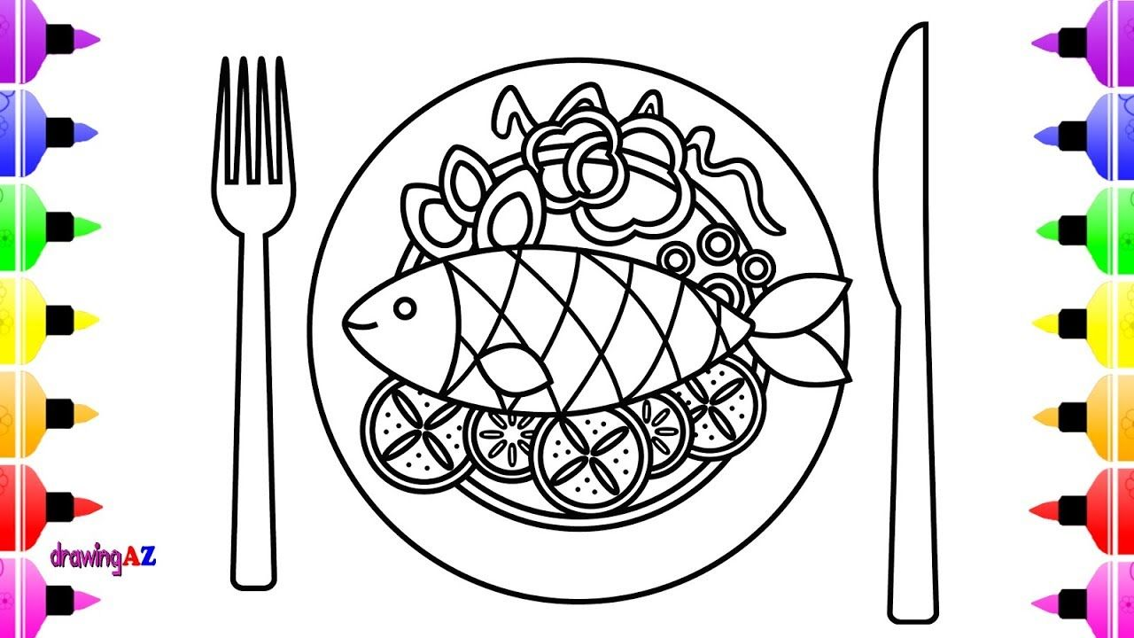 How To Draw Fish Dish For Kids Learn Color With Coloring Page For Kids Drawing For Kids Drawings Flower Drawing