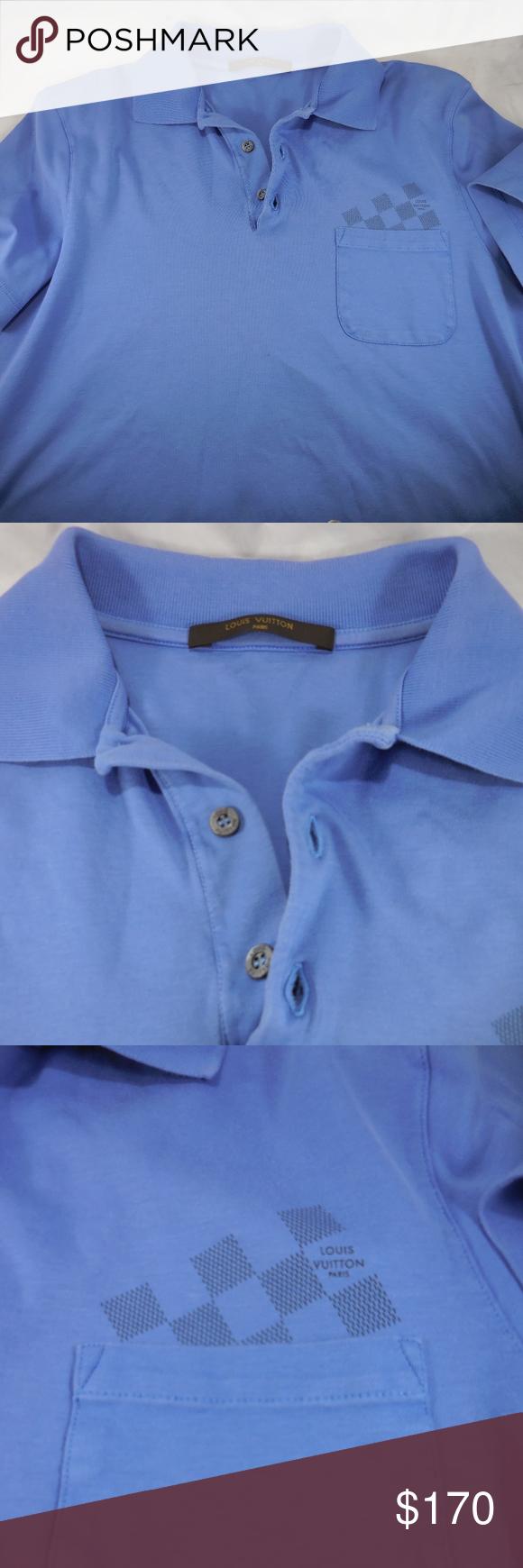 Authentic Louis Vuitton Blue Mens Emblem Polo Authentic Louis