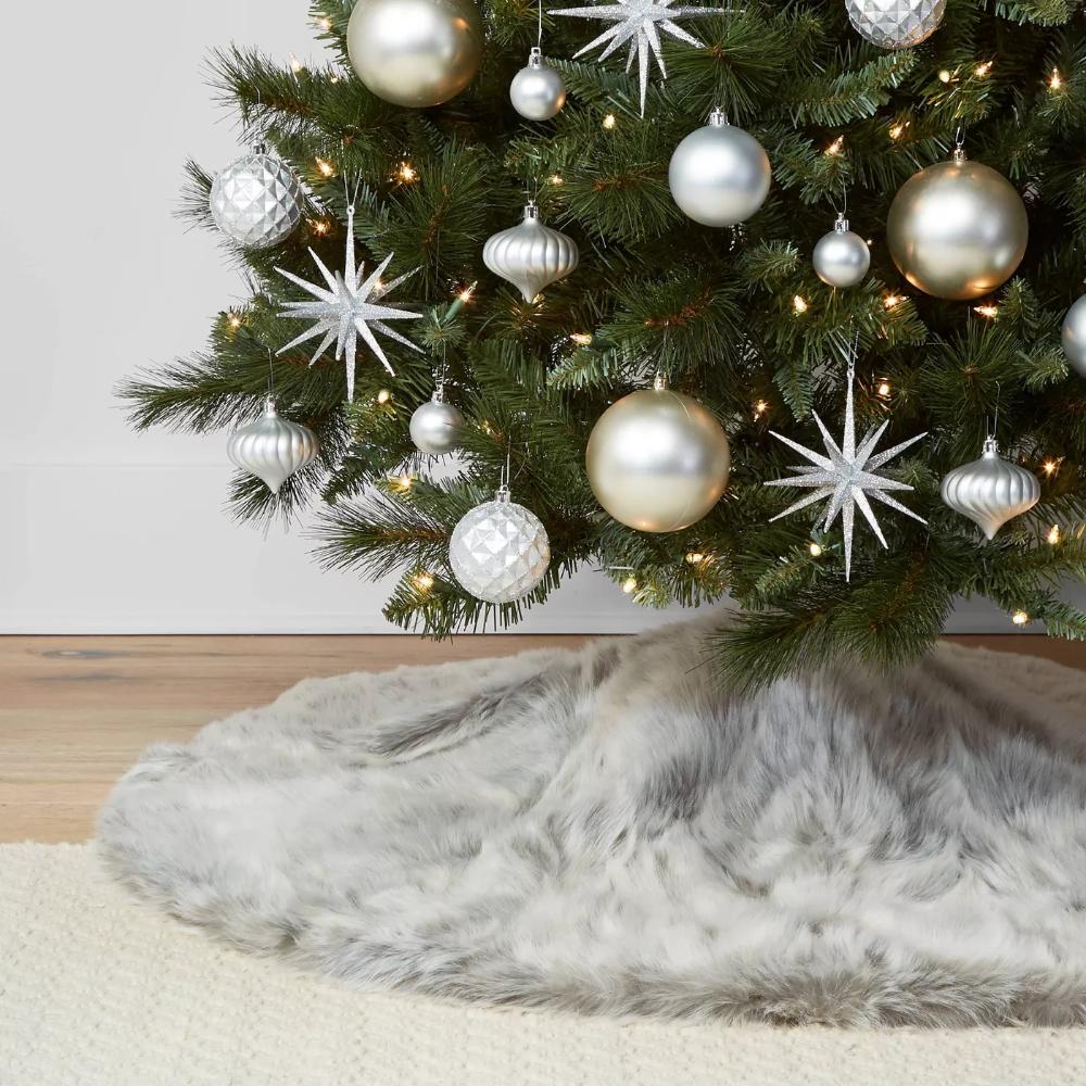 48in Gray Faux Fur Christmas Tree Skirt - Wondershop -   19 christmas tree 2020 simple ideas