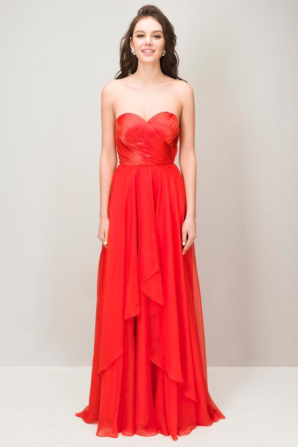 Prom dresses elegant red long simple sweetheart chiffon formal