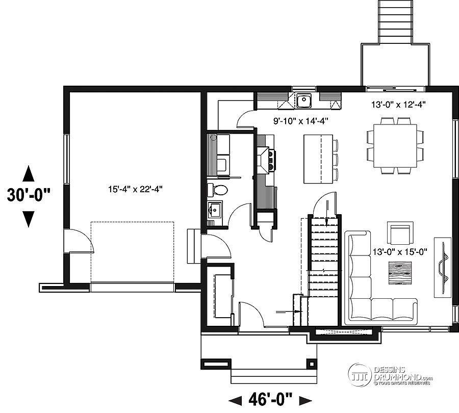 Détail du plan de Maison unifamiliale W3726-V1 house plan