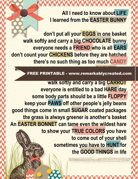 All I Need To Know I Learned From The Easter Bunny Free Printable