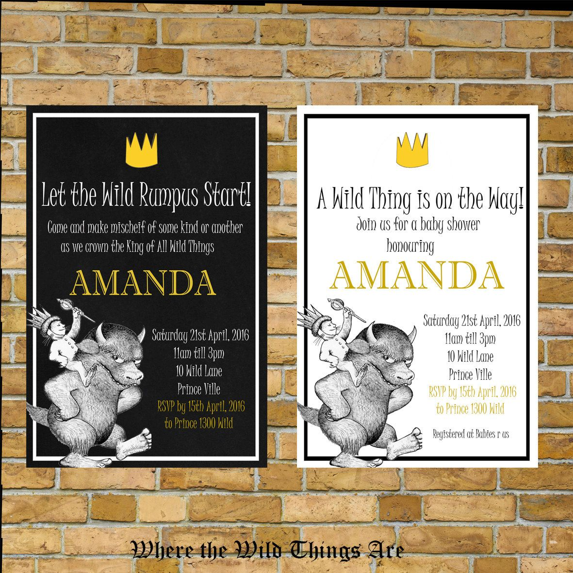 Where the Wild Things are Baby Shower Invitation , Choice of Book ...