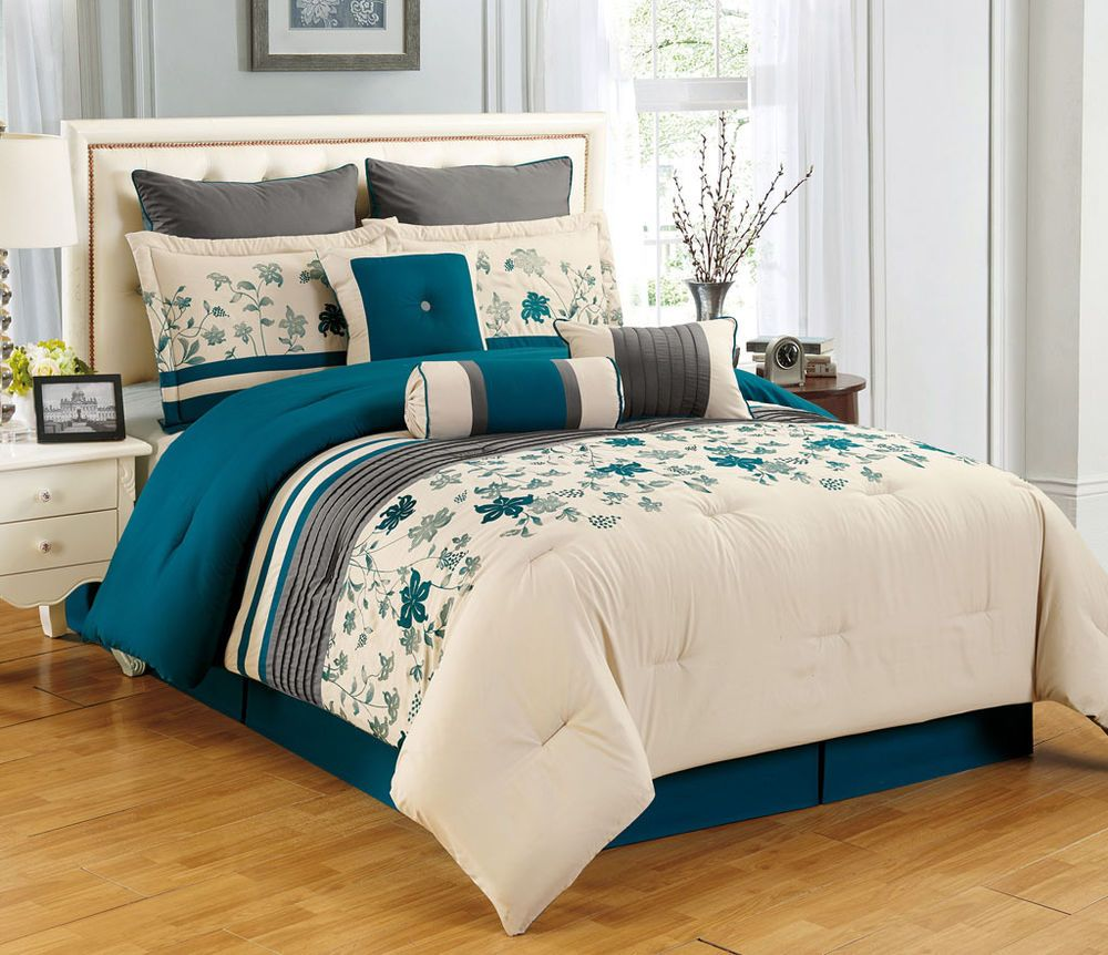 9 Piece King Selene Teal And Beige Comforter Set Blue Comforter Sets Teal Bedding Sets Comforter Sets
