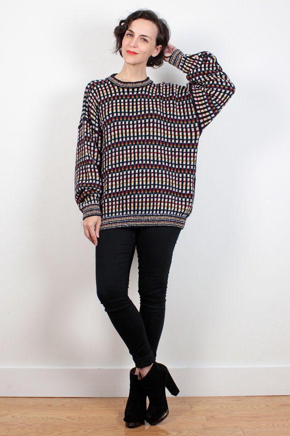 846b843c2aec Vintage 90s Sweater Grid Plaid Soft Grunge Oversized Sweater 1990s ...