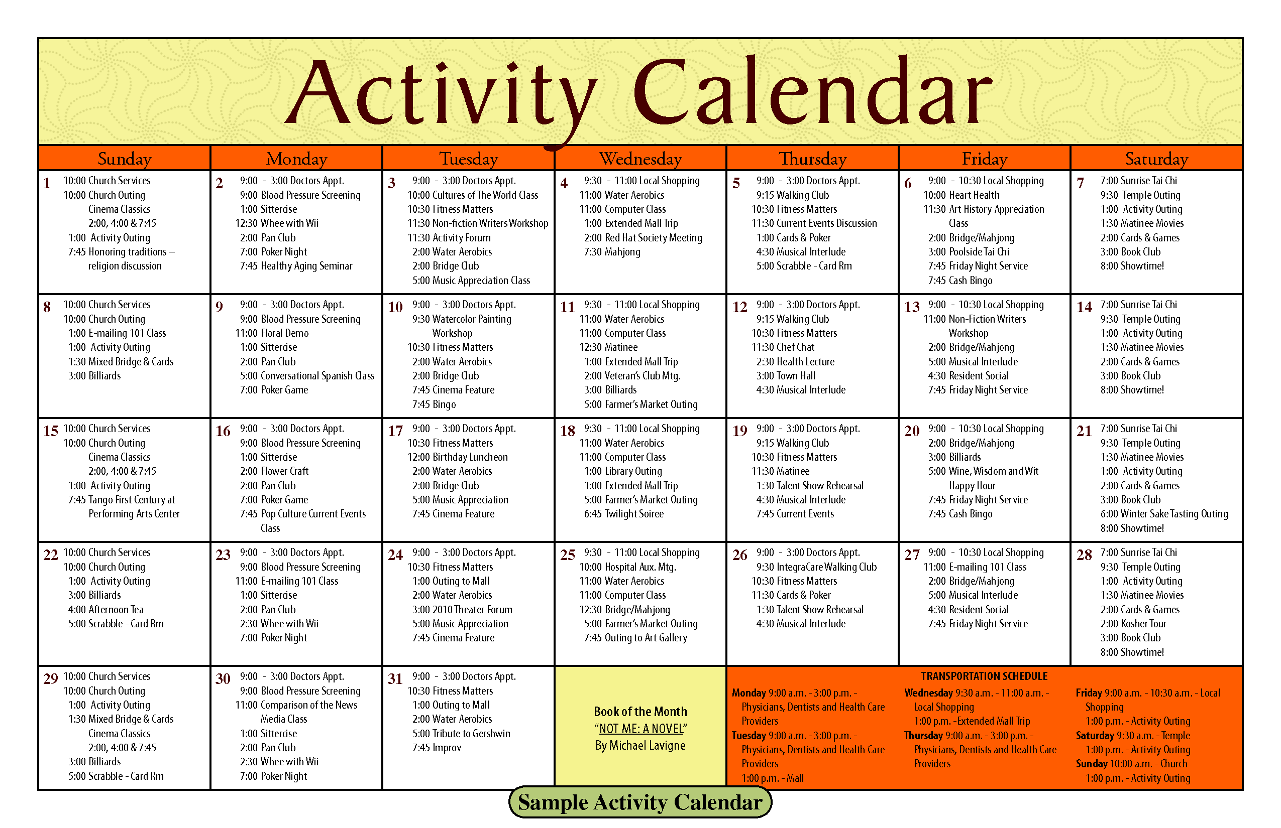 Image Result For Sample Calendar For Senior Activities