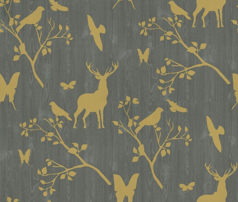 Neo 43870 Albany Wallpapers A Wood Paneling Effect Design In Grey Overlaid With Lime Green Stencils Of Lea Stag Wallpaper Deer Wallpaper Albany Wallpaper