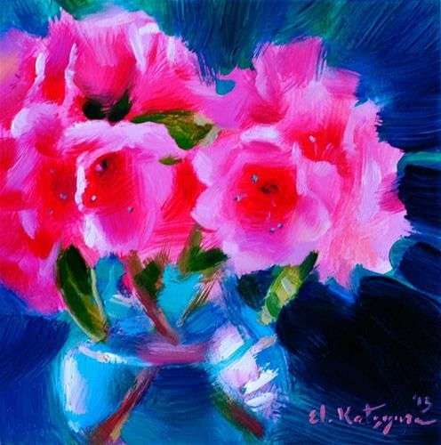"Daily Paintworks - ""Azalea on Green"" - Original Fine Art for Sale - © Elena Katsyura"