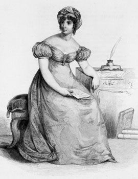 Anne-Louise Germaine Necker de Stael (1766-1817), known as Madame de Stael, was a brilliant French-Swiss woman of letters. Her salon was a well-known center for politicians and intellectuals, and her best-known written works include the novels Delphine, Corinne and De L'Allemagne.