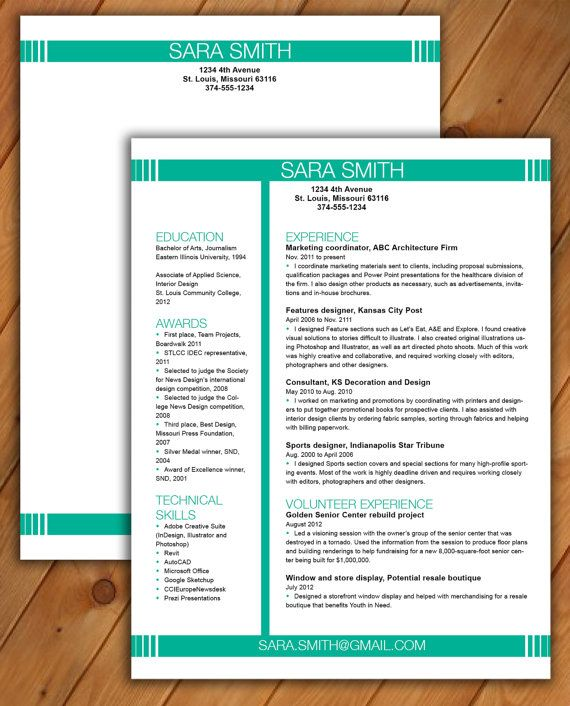 Eye Catching Resume Templates Resume And Cover Letter Template  Cv Template  Word Document