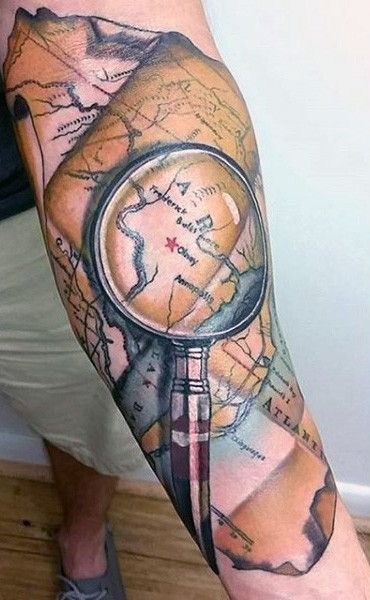 Magnifying glass world map male tattoo on forearm pirates magnifying glass world map male tattoo on forearm gumiabroncs Image collections