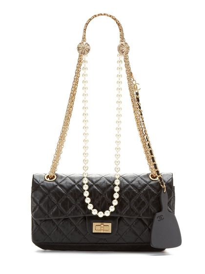 8f9fd11a95a5 Rare Black 2.55 Pearls Quilted Lambskin Reissue 225 Double Flap Bag  5K  plus!