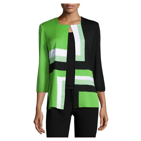 Ming Wang Geometric Print Hook Front Jacket, Grass Black White ($185) ❤ liked on Polyvore featuring outerwear, jackets, color block jacket, ming wang, black and white jacket, straight jacket and slim fit jackets