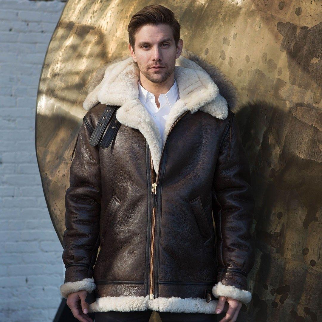 The Dakota Hooded B3 Coat Cockpit Usa Jackets Men Fashion Sheepskin Jacket Mens Leather Coats [ 1080 x 1080 Pixel ]