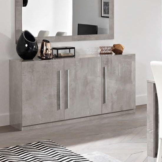 Elegance White Gloss Marble Effect Ceramic Floor Tile: Breta Sideboard In Grey Marble Effect With High Gloss