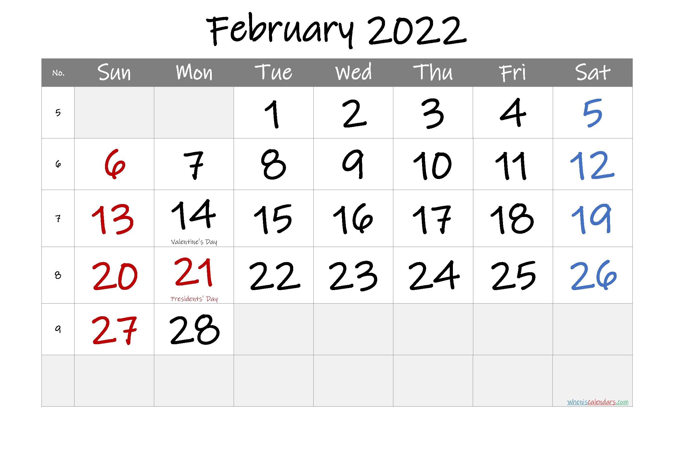 Utk Spring 2022 Calendar.Free Printable February 2022 Calendar Pdf And Png