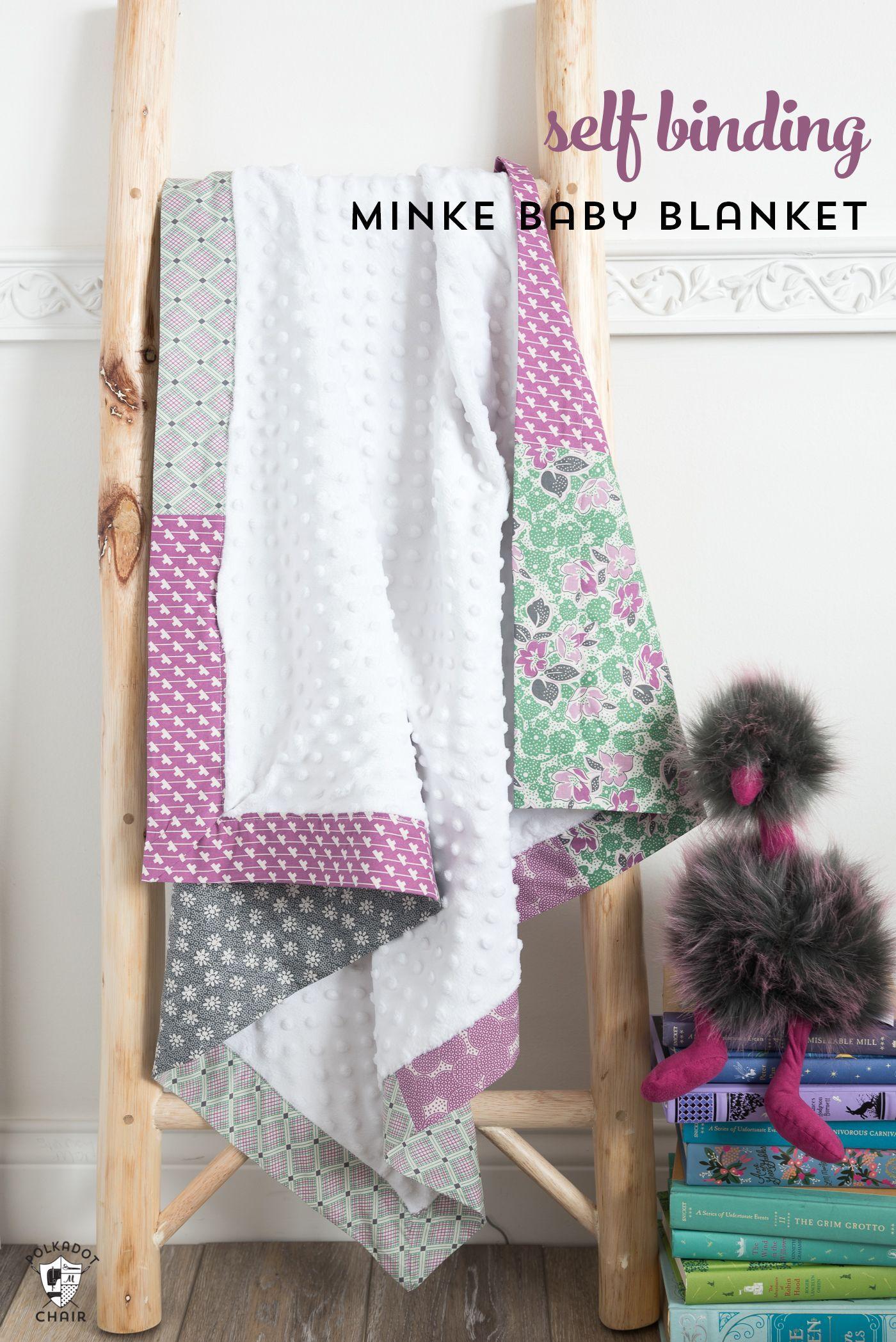Self binding minke baby blanket tutorial via polkadotchair sewing