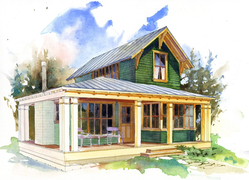 Cottage Style House Plan 1 Beds 1.5 Baths 780 Sq/Ft Plan