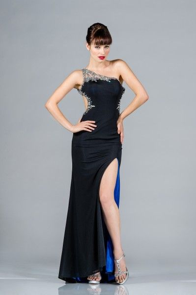 aa9261ecf Sexy One Shoulder Cut Out Rhinestones Floor Length Long Formal Prom Dress  Gown