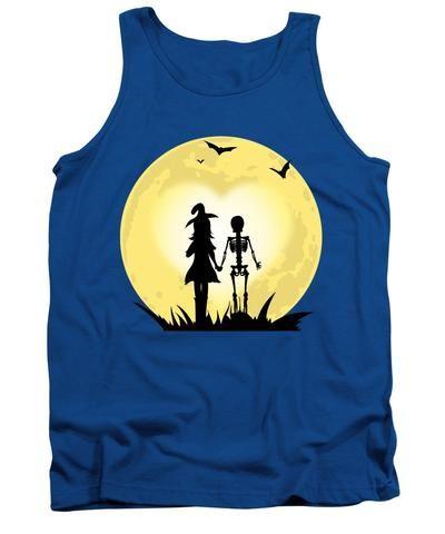 Romantic Halloween Witch And Skeleton T-shirt - Tank Top - romantic halloween ideas