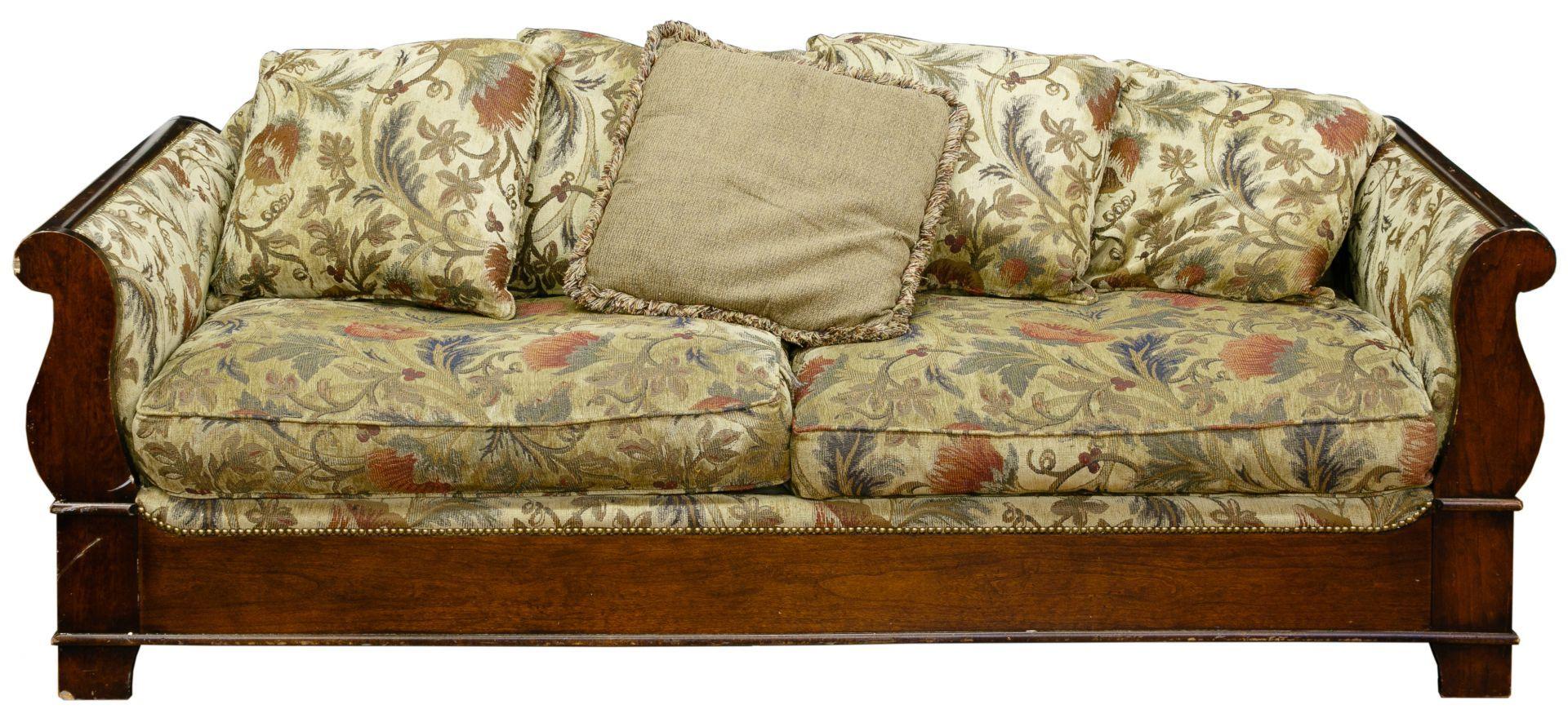 Lot mahogany frame upholstered sofa twocushion seat having