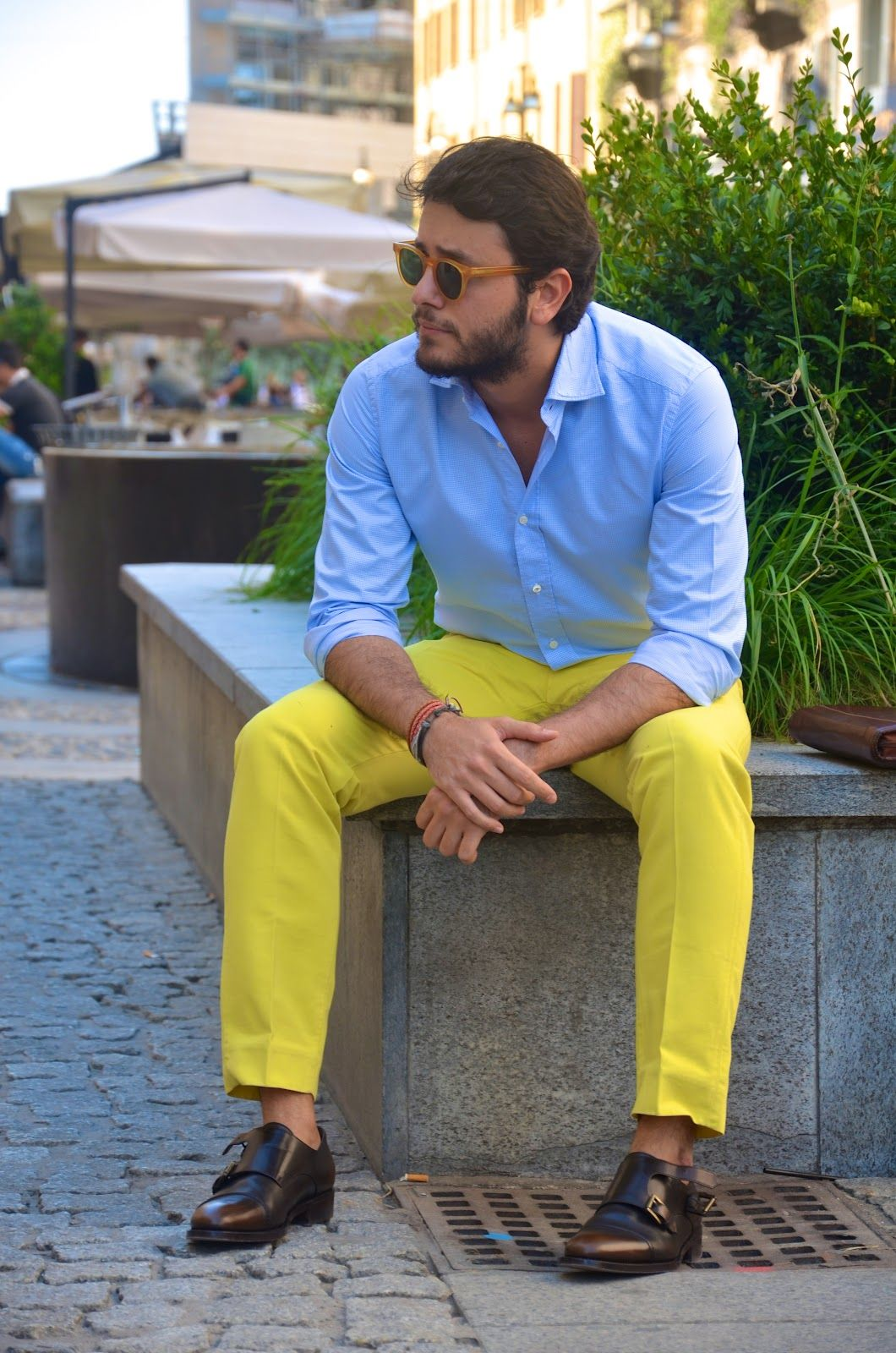 bright yellow pants double monk leather brown shoes | Men style ...