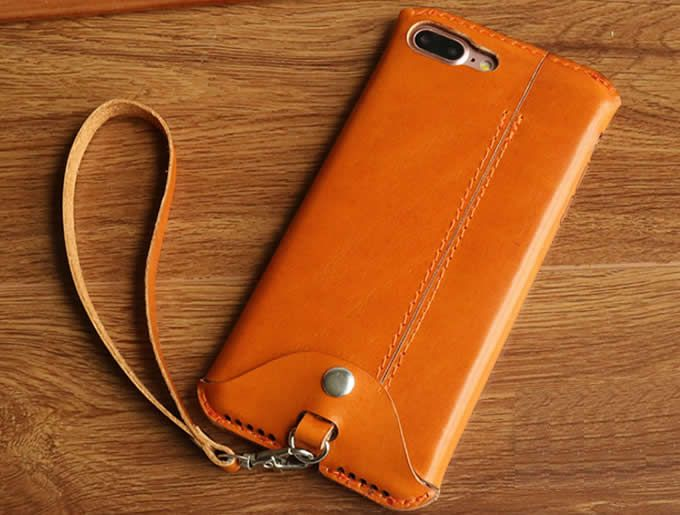 Handmade Genuine Leather Case Cover With Strap For Iphone 6 6s