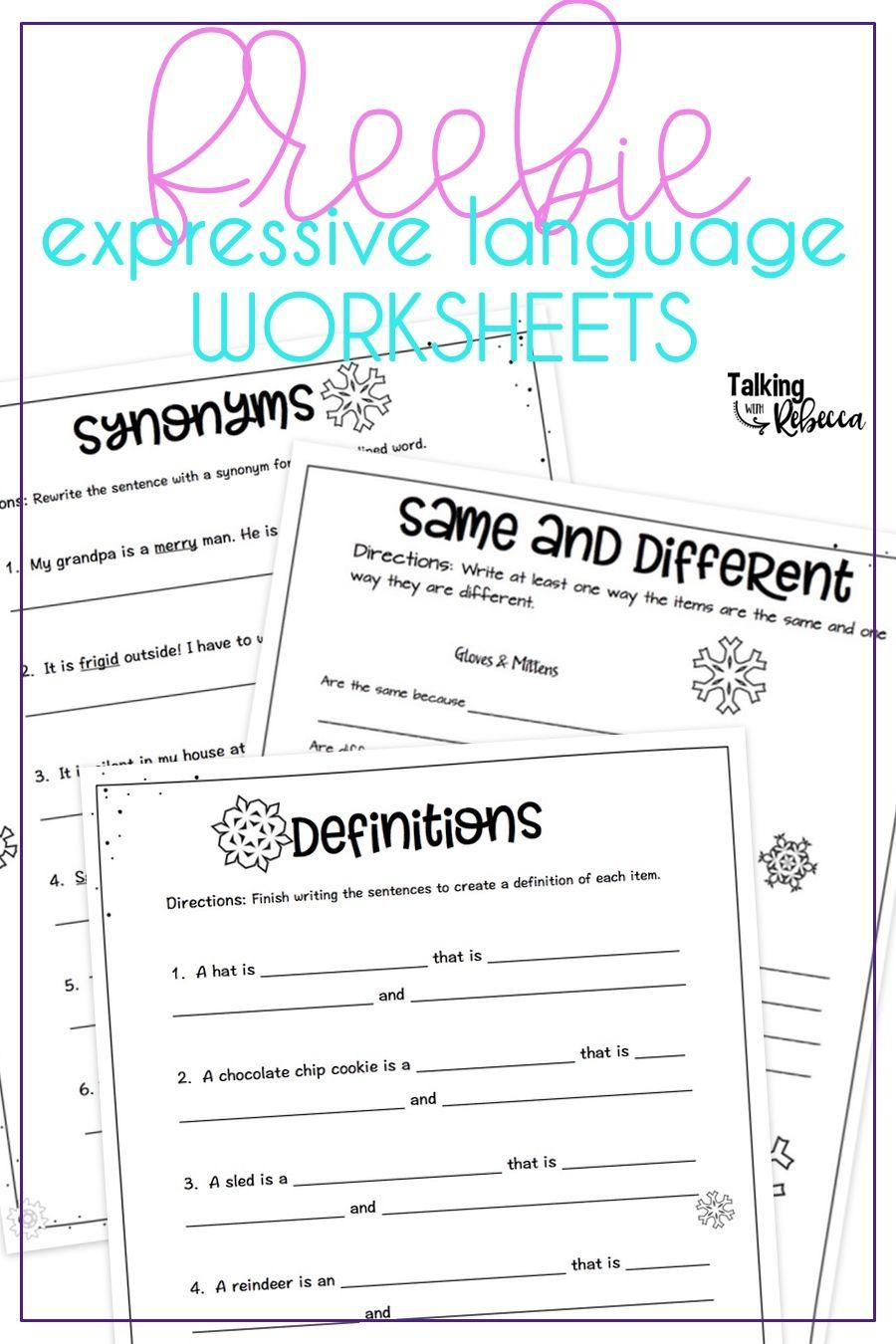 Free Expressive Language Worksheets Language Therapy Activities Speech Language Activities Speech Therapy Materials