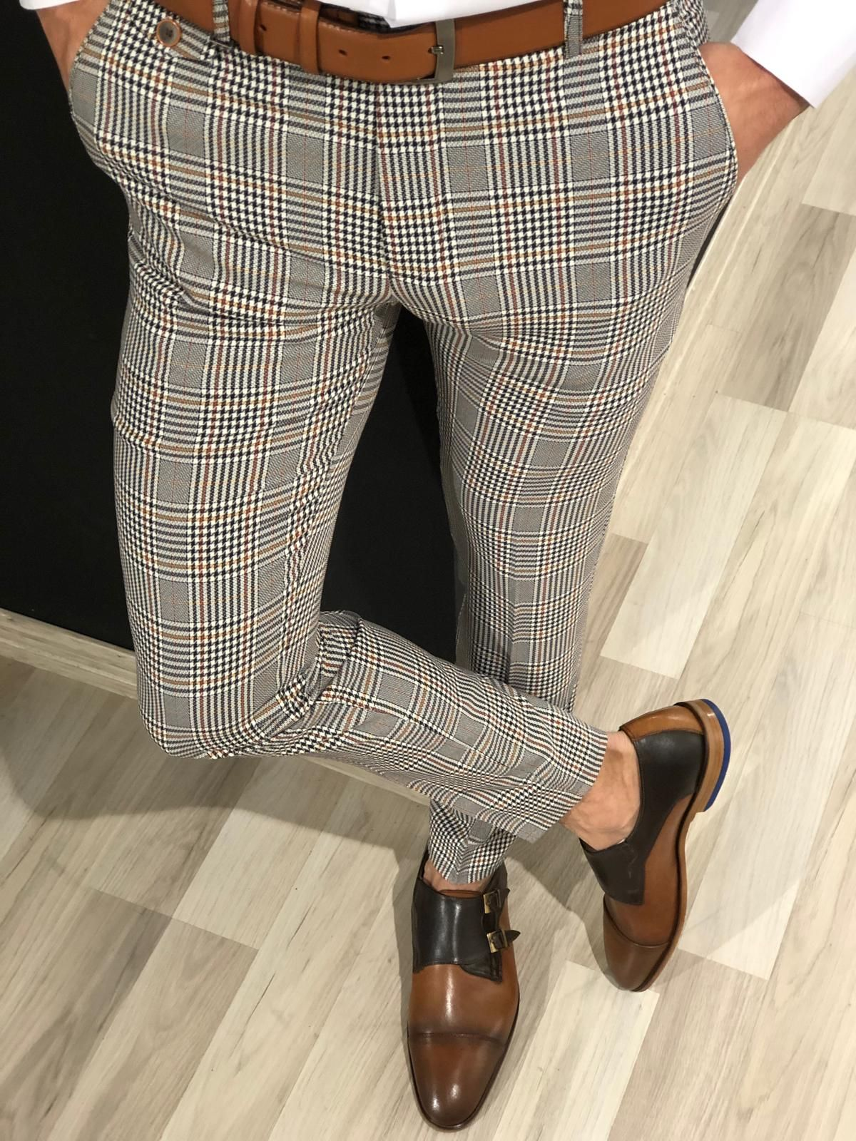 Buy gray slim fit plaid pants by with in 2020