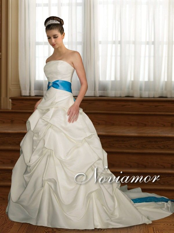 vestido con lazo azul [gw1086] - €341.43 : vestidos de novia baratos