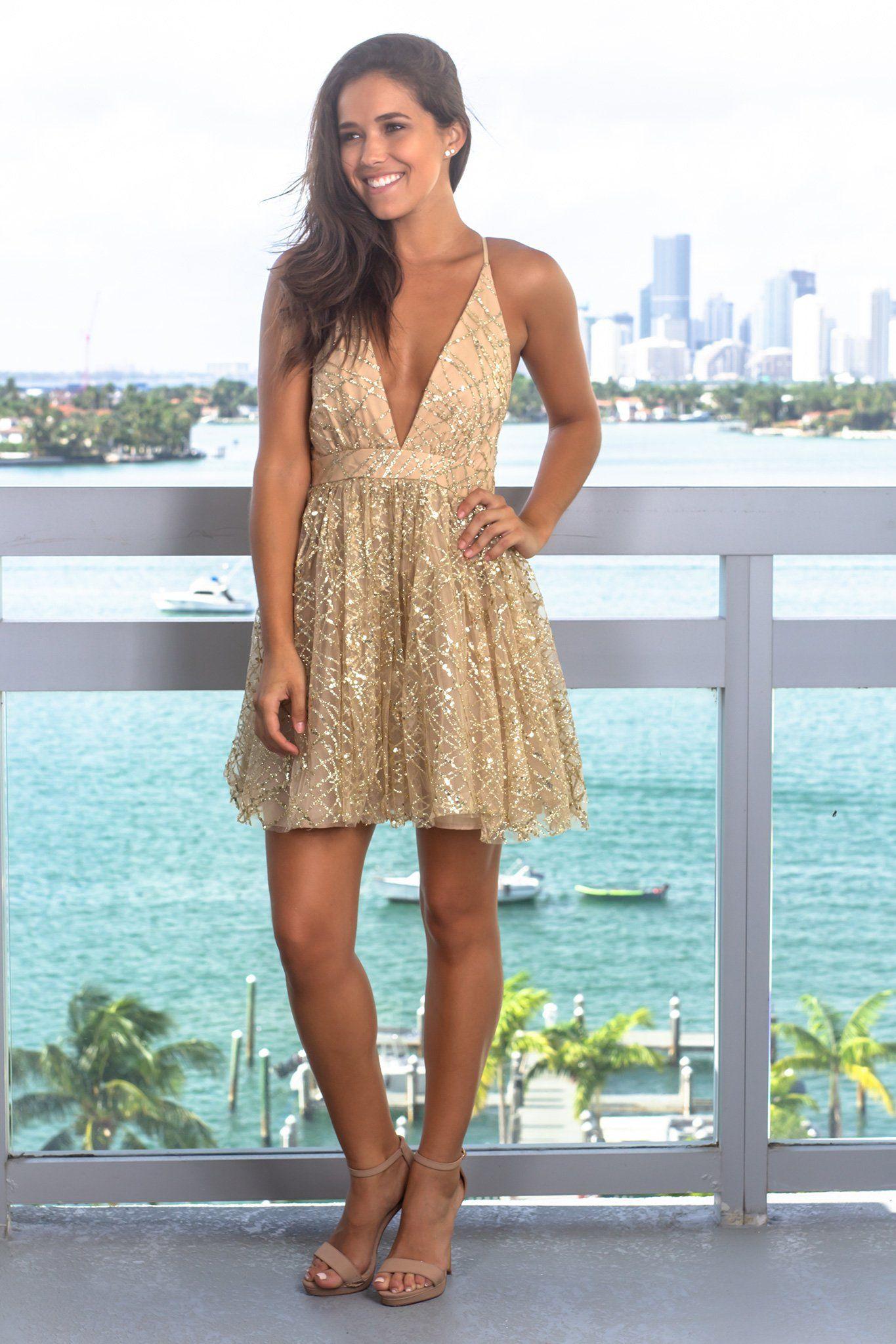 Gold sequin short dress with criss cross back gold