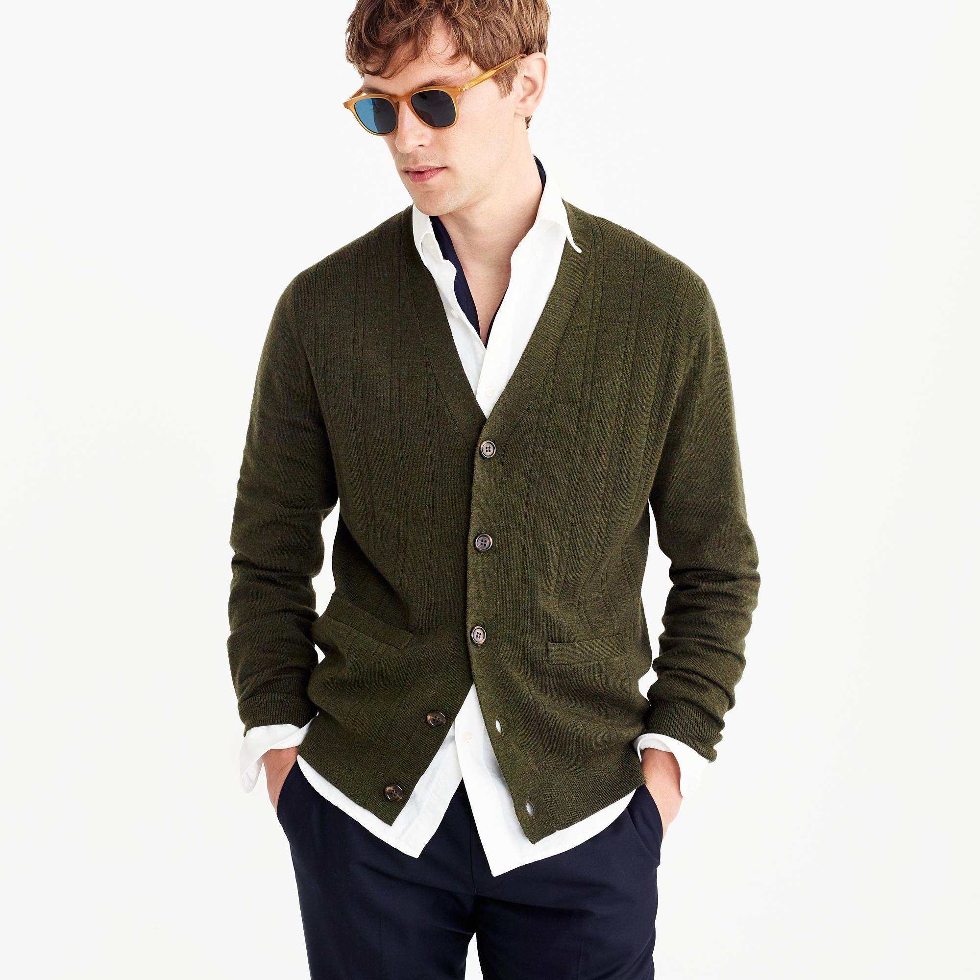 Italian merino wool cardigan sweater in forest green | SS19  ...