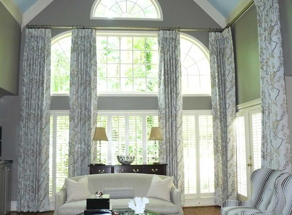 Custom Window Treatments Photo Gallery 1 2 Storey Windows Window Treatments Living Room Tall Window Treatments Arched Window Treatments